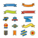 Banner and Ribbon Color Icons Set Of Vector Illustration Style Colorful Flat Icon Stock Photos
