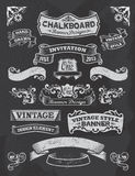 Chalkboard banner and ribbon design set on a black. Collection of banners and ribbons in a vintage retro design style. Black chalkboard blackboard background Royalty Free Stock Image