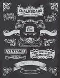 Chalkboard banner and ribbon design set on a black royalty free illustration