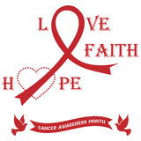 Banner with ribbons against the cancer. Cancer awareness month Royalty Free Stock Images
