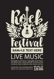 Banner for Rock Festival live music. Vector billboard for Rock Festival live music with an electric guitar, wings, fire and place for text Stock Photography