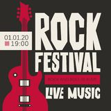 Banner for Rock Festival of live music. Vector poster or banner for Rock Festival of live music with an electric guitar on black background. Rock and roll is Stock Images