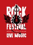 Banner for Rock Festival of live music. Vector poster or banner for Rock Festival of live music with an electric guitar, wings, fire and devil trident on red Stock Images