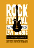 Banner for Rock Festival of live music. Vector poster or banner for Rock Festival of live music with an electric guitar and place for text. Rock and roll is Royalty Free Stock Image