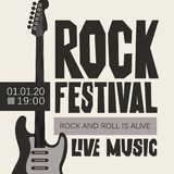 Banner for Rock Festival of live music. Vector poster or banner for Rock Festival of live music with an electric guitar. Rock and roll is alive Stock Photography