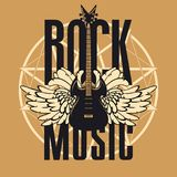 Banner for rock music with guitar and wings. Vector banner or emblem with words Rock music, electric guitar with wings on the background of a pentagram Stock Images