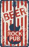 Banner for rock pub with an electric guitar Royalty Free Stock Photo