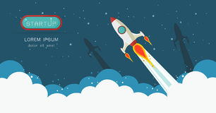 Banner of Rocket launch royalty free illustration
