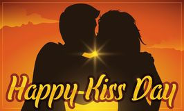 Couple Silhouette in Romantic Sunset in Kiss Day Celebration, Vector Illustration Stock Images