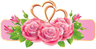 Banner with roses and hearts Royalty Free Stock Photo