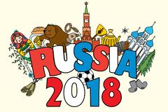 Banner Russia 2018. Russian symbols. Travel Russia, Russian traditions and ball.Funny cartoon Vector illustration Royalty Free Stock Photography