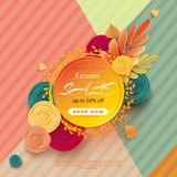 Banner for sale of autumn with colorful seasonal fall leaves and bright 3D flowers for promotion of discounts. The autumn sale. Vector illustration vector illustration