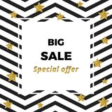 Banner sale background with white and black sigzag and glitter stars. White frame and place for the text. Template for flyers, pos vector illustration