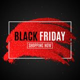 Banner for sale Black Friday. Grunge brush with glitters in white frame. Dark background.Cover for your design. Vector illustratio. N. EPS 10 Royalty Free Stock Photos