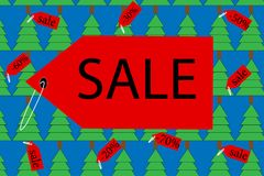 Banner sale with Christmas trees. On a blue background Royalty Free Stock Photo
