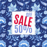 Banner Sale, 50 discount. With vintage floral background. For advertising, business websites print Stock Image