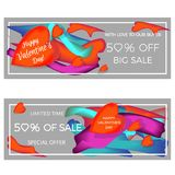 Banner about the sale and discounts. Abstract colorful fluffy liquid cover and a set of posters. Bubble forms the layout of the de Royalty Free Stock Photo