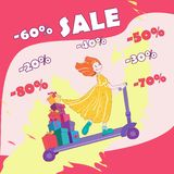 Banner for sale. The girl on the scooter. vector illustration