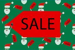 Banner sale on a green background. Banner sale with santa on a green background Stock Images
