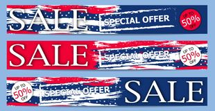 Banner Sale for Independence Day USA 4th July. Modern  background. Vector. Illustration Royalty Free Stock Photos