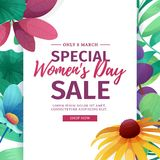 Banner for sale International  Happy Women`s Day on flower background. Flyer for March 8 with the decor of flora Royalty Free Stock Images
