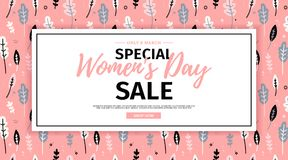 Banner for sale International  Happy Women`s Day on flower background. Flyer for March 8 with the decor of flora. L. Invitations with square  and flower for Royalty Free Stock Photo