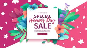 Banner for sale International  Happy Women`s Day on flower background. Flyer for March 8 with the decor of flora Royalty Free Stock Photo