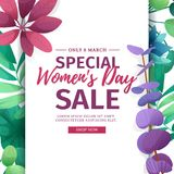 Banner for sale International  Happy Women`s Day on flower background. Flyer for March 8 with the decor of flora Stock Images