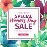 Banner for sale International  Happy Women`s Day on flower background. Flyer for March 8 with the decor of flora Royalty Free Stock Image