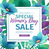 Banner for sale International  Happy Women`s Day on flower background. Flyer for March 8 with the decor of flora. L. Invitations with square frame and flower for Stock Image