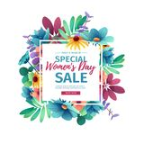 Banner for sale International  Happy Women`s Day on flower background. Flyer for March 8 with the decor of flora. L. Invitations with square frame and flower for Royalty Free Stock Photography