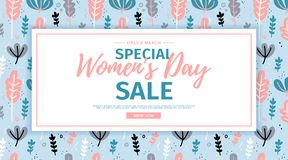 Banner for sale International  Happy Women`s Day on flower background. Flyer for March 8 with the decor of flora. L. Invitations with square  and flower for Royalty Free Stock Photos