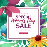 Banner for sale International  Happy Women`s Day on flower background. Flyer for March 8 with the decor of flora Royalty Free Stock Photos
