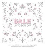 Banner sale of 90 off. Last Spring sale. Banner with the inscription about the sale of 90 off. Last Spring sale, flowers Stock Images