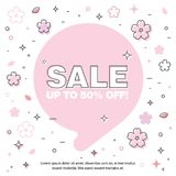 Banner sale of 90 off. Last Spring sale. Banner with the inscription about the sale of 90 off. Last Spring sale, flowers, bubble Royalty Free Stock Photography