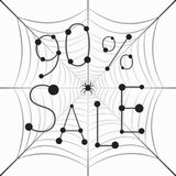Banner Sale 90 percent discount on web. Hanging Web with the inscription Sale 90% with a hanging spider royalty free illustration