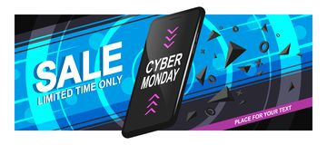 Banner Sale Phone. Banner sale for Cyber Monday. A realistic black smartphone in motion with triangular fragments and details, on a bright background, with royalty free illustration
