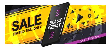 Banner Sale Phone. Banner sale for Black Friday. A realistic black smartphone in motion with triangular fragments and details, on a bright background, with royalty free illustration