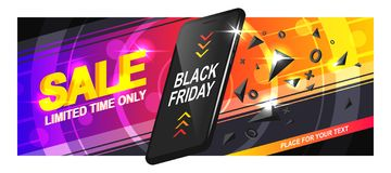 Banner Sale Phone. Banner sale for Black Friday. A realistic black smartphone in motion with triangular fragments and details, on a colorful background, with royalty free illustration