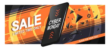Banner Sale Phone. Banner sale for Cyber Monday. A realistic black smartphone in motion with triangular fragments and details, on a bright background, with stock illustration