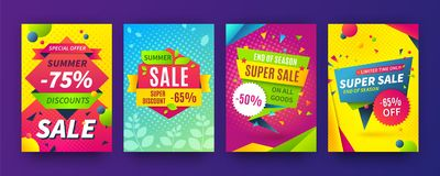 Banner sale poster. Promotion flyer, discount voucher template special offer market brochure. Vector sale labels and set