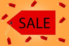 Banner sale with red price tags. On a sunny background stock illustration
