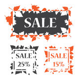 Banner sale template design. Autumn sale banner template design. Sale 15 and 25 percentage royalty free stock image