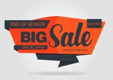 Banner sale template original design. Orange and blue Royalty Free Stock Photography