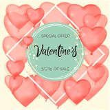 Banner about sales and discounts. Valentine`s Day. Red inflatable balls. Vector illustration of a banner banner. Wallpaper, flyer. Invitation to the store Stock Images