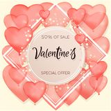 Banner about sales and discounts. Valentine`s Day. Red inflatable balls. Vector illustration of a banner banner. Wallpaper, flyer. Invitation to the store Royalty Free Stock Photo