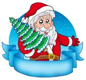 Banner with Santa holding tree Royalty Free Stock Photo
