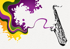Banner with saxophone Royalty Free Stock Photography
