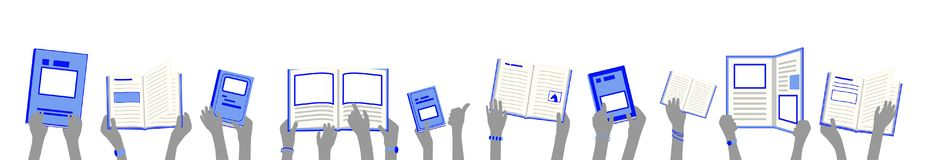 Banner of school children hold and read blue library books in hands royalty free stock photos