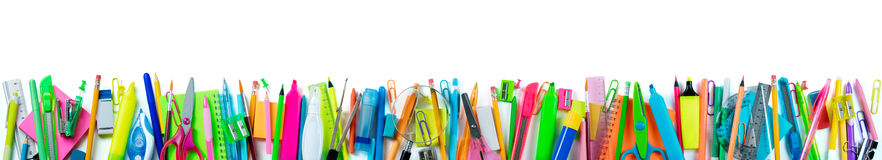 Banner School Supplies Isolated. On White Background Royalty Free Stock Images